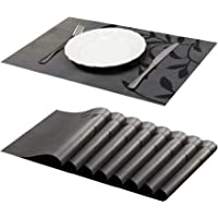 Jujin Placemats Set of 8 Non-Slip Washable PVC Heat Resistant Table Mats for Dining Table Black-1