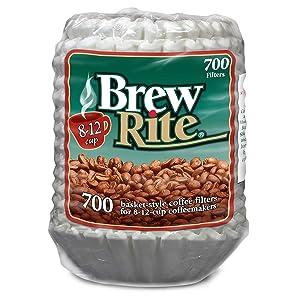 Brew Rite Coffee Filter-700 ct, 8-12 Cups White