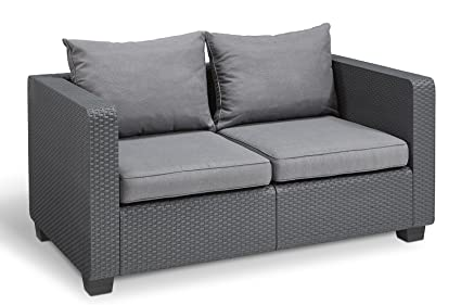 Keter Salta All Weather Outdoor Patio Furniture Loveseat 2 Seater With  Sunbrella Cushions In A