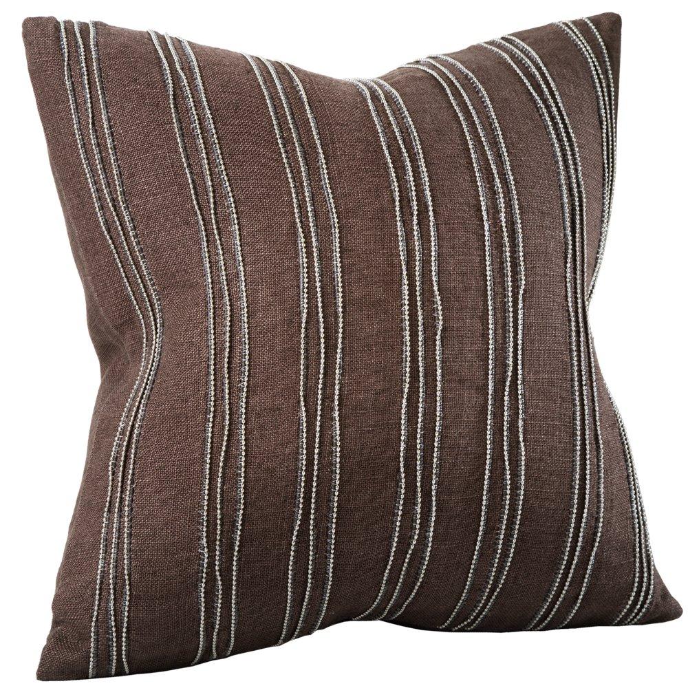 Chauran Cirque-Beaded Linen 16'x16' Pillow Cover Dark Brown