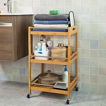 SoBuy® con Ruedas para baño, Camarera, Carrito de Cocina, Carrito de bambú fkw15 de N: Amazon.es: Juguetes y juegos
