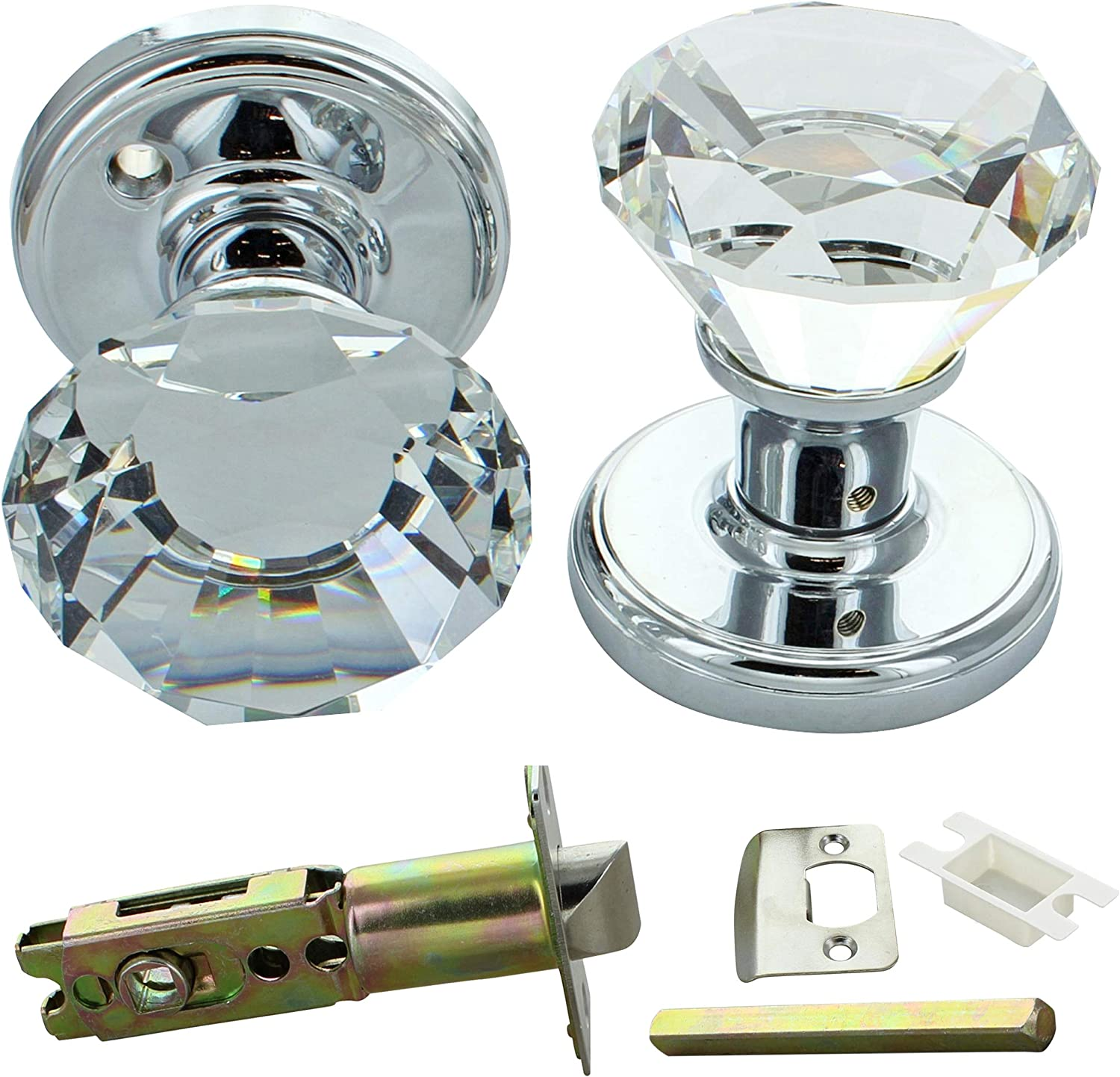 Pair Antique Faceted Clear Glass Mortice Interior Internal Turning Door Knobs