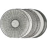 Ard'time EC-6KOAS21 Komaé–Set di 6piatti in ceramica, nero/bianco 21,5x 21,5x 2cm