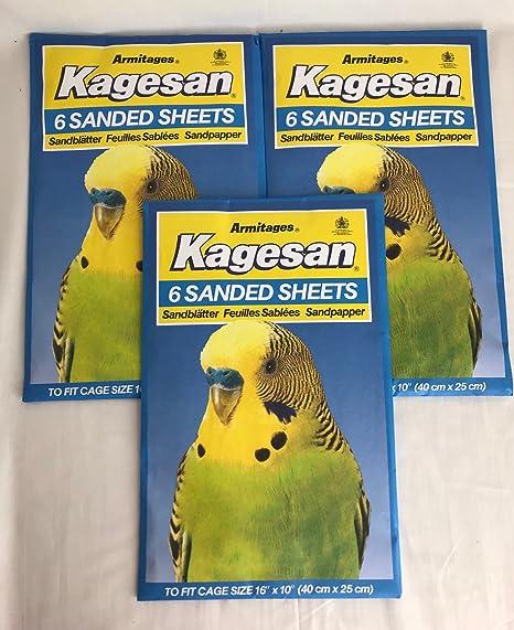 Kagesan Juego de hojas de papel de lija para jaula de pájaros, 3 x ...