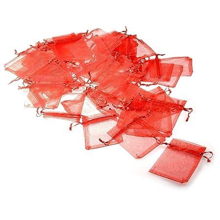 JZK 50 x Bolsas de Organza Rojo bolsitas Regalo 7cm x 9cm Bolsas Joyas pequeñas para Boda cumpleaños Baby Shower comuniones bautizos