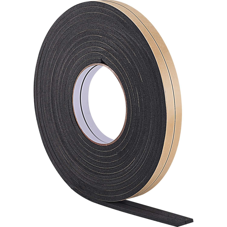10 m Foam Draught Excluder Weather Strip Tape Weatherstrip Weather Seals for Window Door Sealing (5 mm, White) Hestya