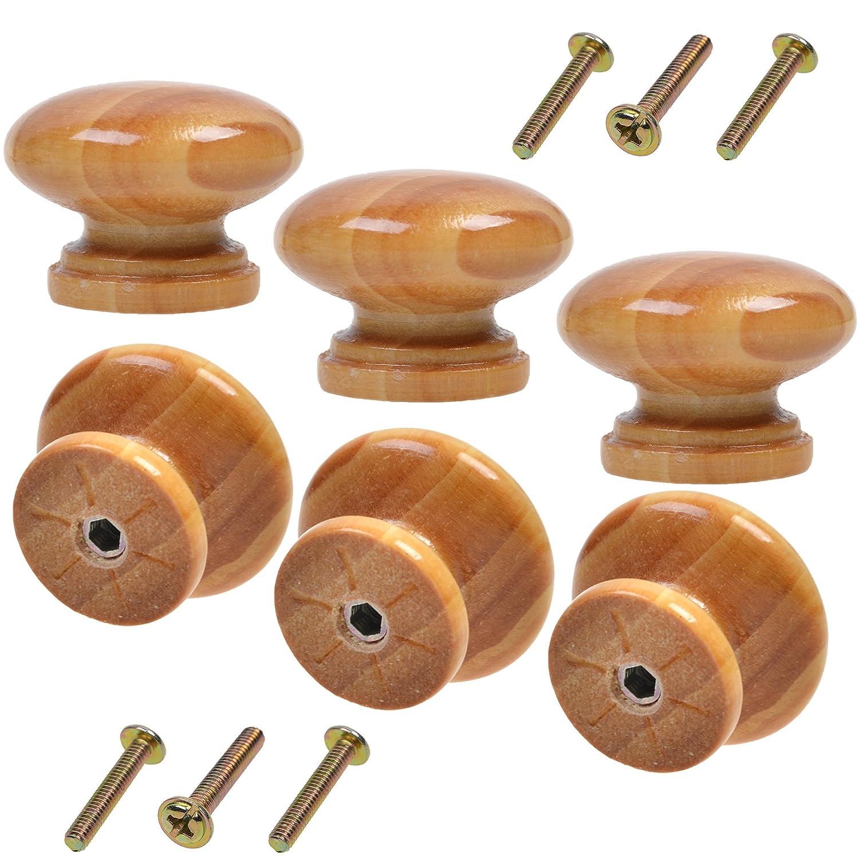 COSMOS 6 PCS Round Mushroom Shape Wooden Cabinet Knobs Drawer Pulls