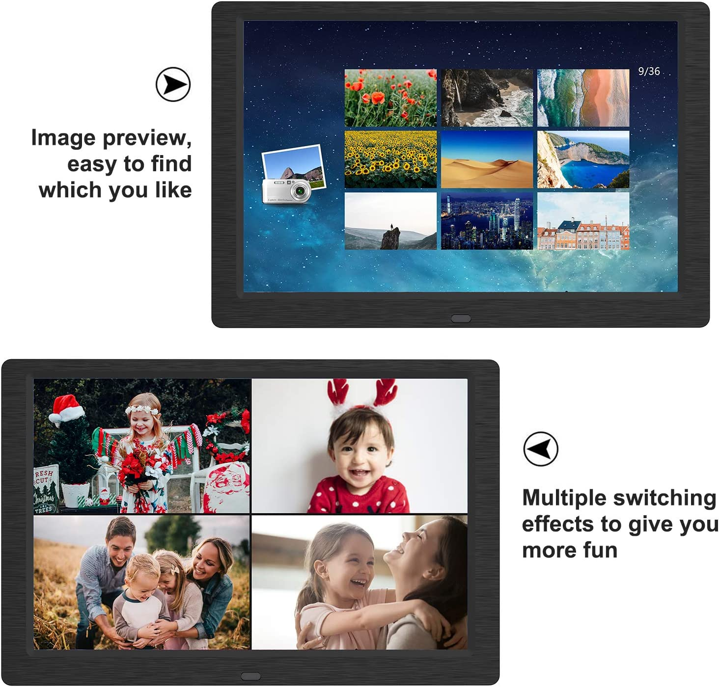 Support USB and SD Card SEQI 10.1 Inch Digital Photo Frame Remote Control 1920x1080 Full HD 16:10 IPS Display Photo//Music//Video Player Calendar Alarm Auto On//Off Timer