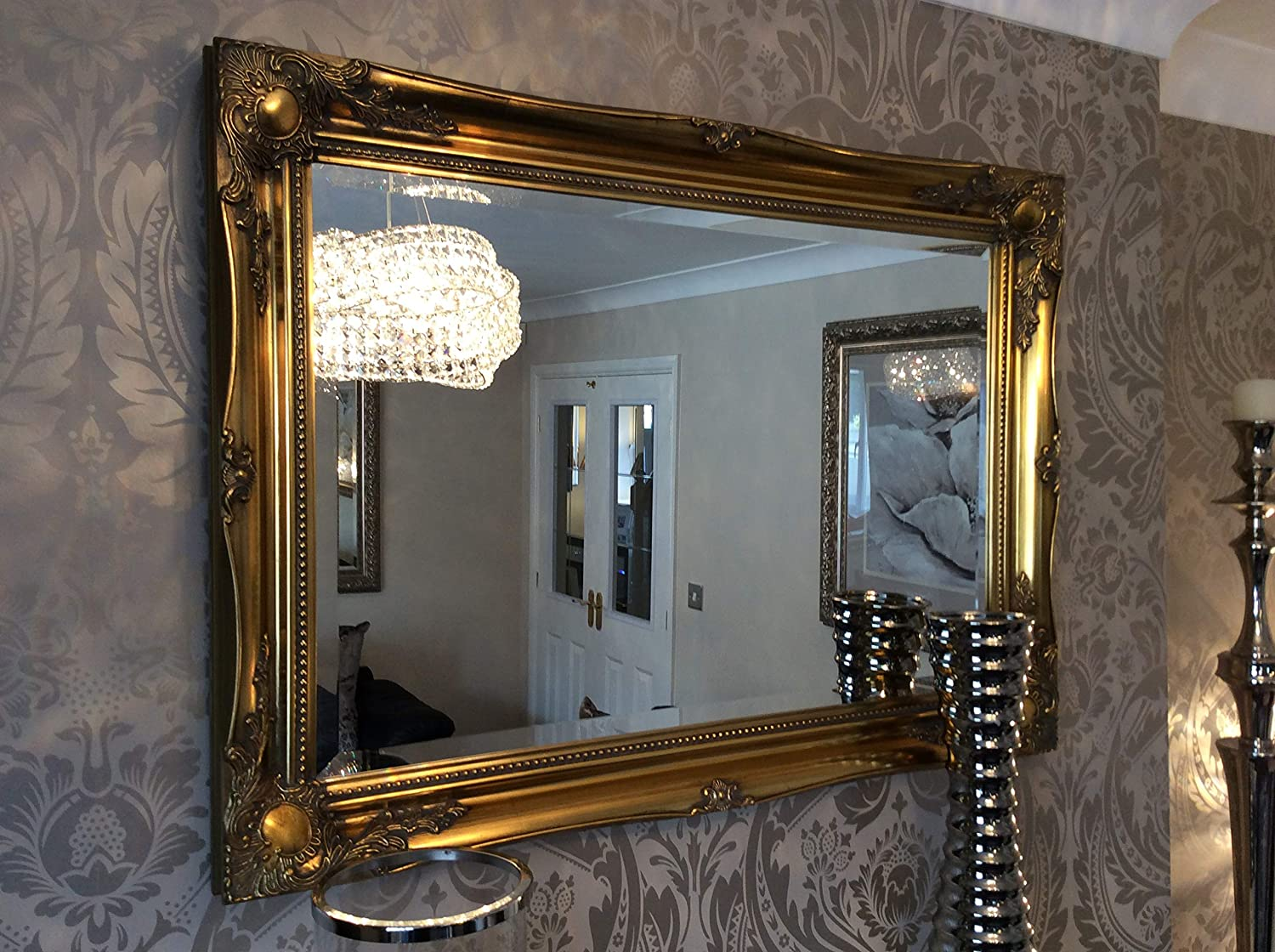 3ft6 X 2ft6 106cm X 76cm Large Gold Antique Style Ornate Big Wall Mirror Bargain Amazon Co Uk Kitchen Home