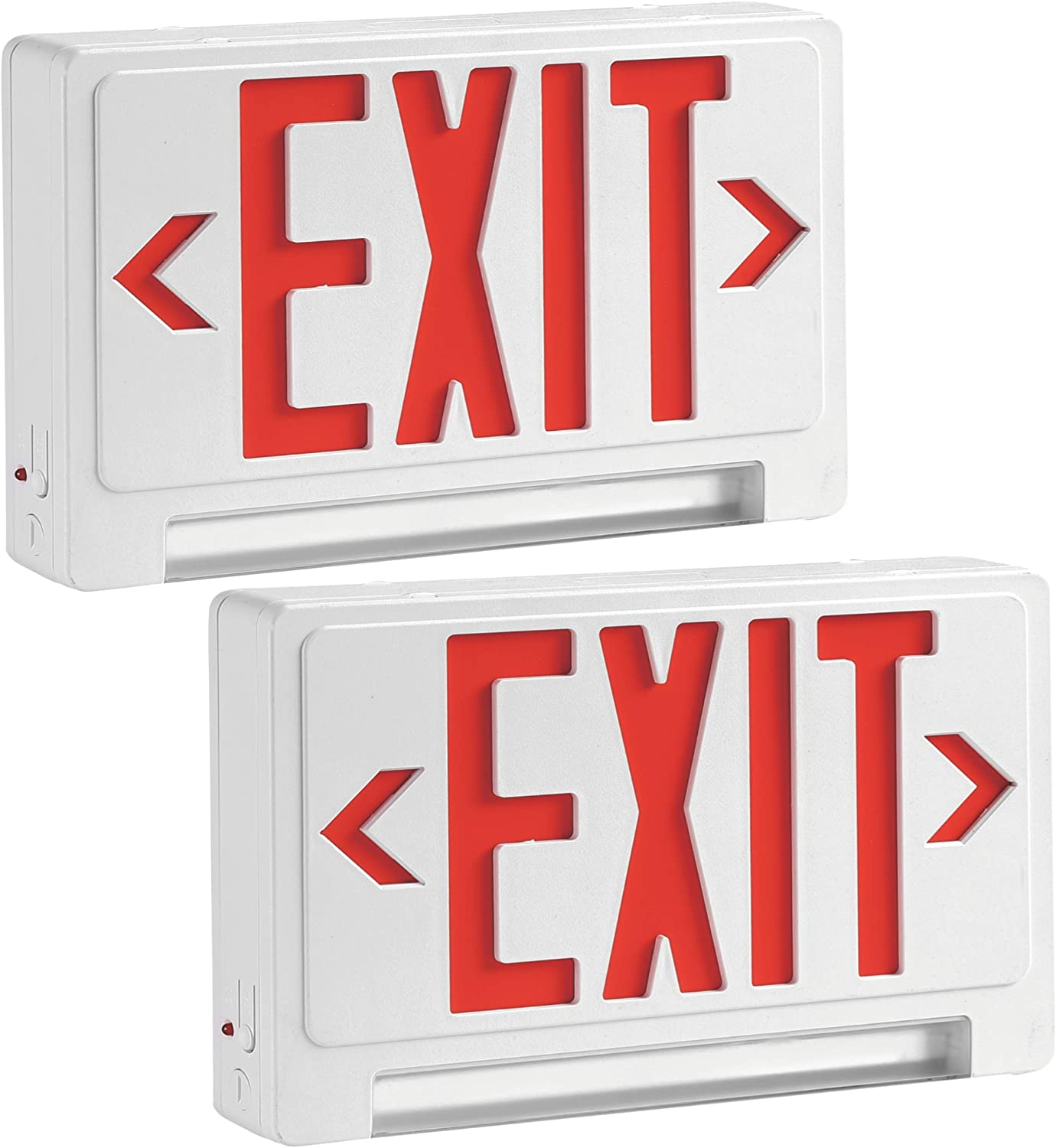 LED emergency light exit sign with battery backup light bulb, Pack of 2, Exit Sign Combo, Indoor Hallway or Room Safety for Residential, Commercial or Industrial Use, rechargeable emergency led bulb