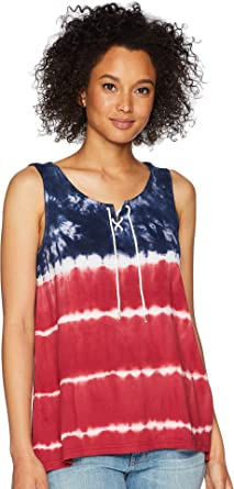 Chaps Womens Tie-Dye Lace-up Top at Amazon Women s Clothing store  6f3415422