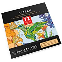 Arteza Coloring Book for Adults, 6.4 x 6.4 Inches, Animal Designs, 72 Sheets, 100 lb Paper, Detachable Pages, Black…