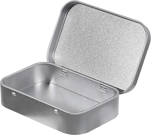 Silver Portable Sealed Containers Storage Boxes with Lids for Small Items KINJOEK 42Pcs Empty Metal Hinged Tins