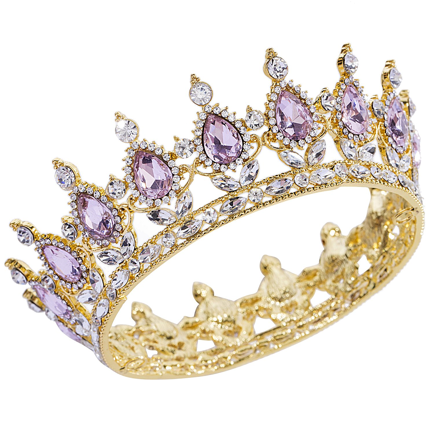 CamingHG Rhinestone Cake Topper Crown Fancy Party Cake Decoration Princess And Prince Headpiece (Gold-pink)