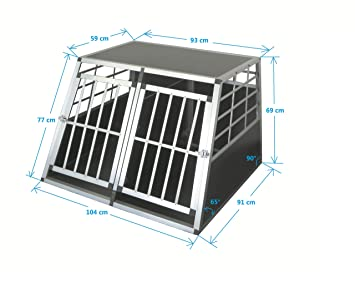 SMALL DOUBLE DOOR WITH PARTITION WALL PANEL TechStylUK Pet Aluminium Car Dog Cage 6 Travel Puppy Crate Pet Carrier Transport