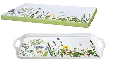GILDE Bandeja de servir Grande de melamina decorado con flores silvestres, 48,5x29,