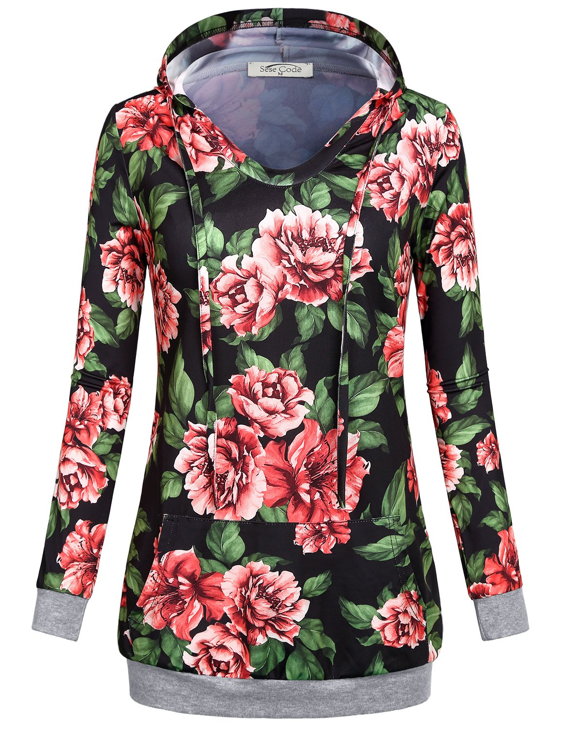 SeSe Code Hoodie Floral, Women Lightweight Pullover 2xl Large Spring Tropical Flower Collarless Contemporary Shirt Fit Loosely Travel Weekday Cold Home Sweatshirt with Hood Top Black XXL