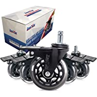5 Piece 3'' Heavy Duty Quiet Swivel Replacement Office Chair Caster Wheels with Brakes/Locks - Roller Blade Style -Made…