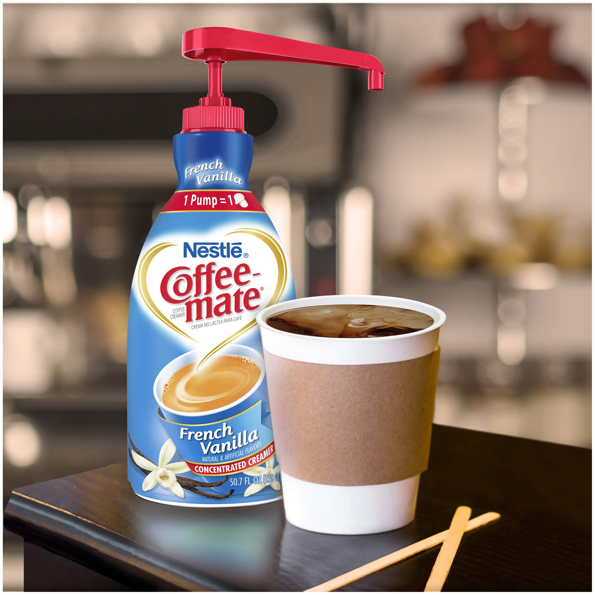 Nestle Coffee-mate Coffee Creamer, French Vanilla,  liquid pump bottle, 50.7 Fl. Oz (Pack of 2) by Nestle Coffee Mate (Image #2)
