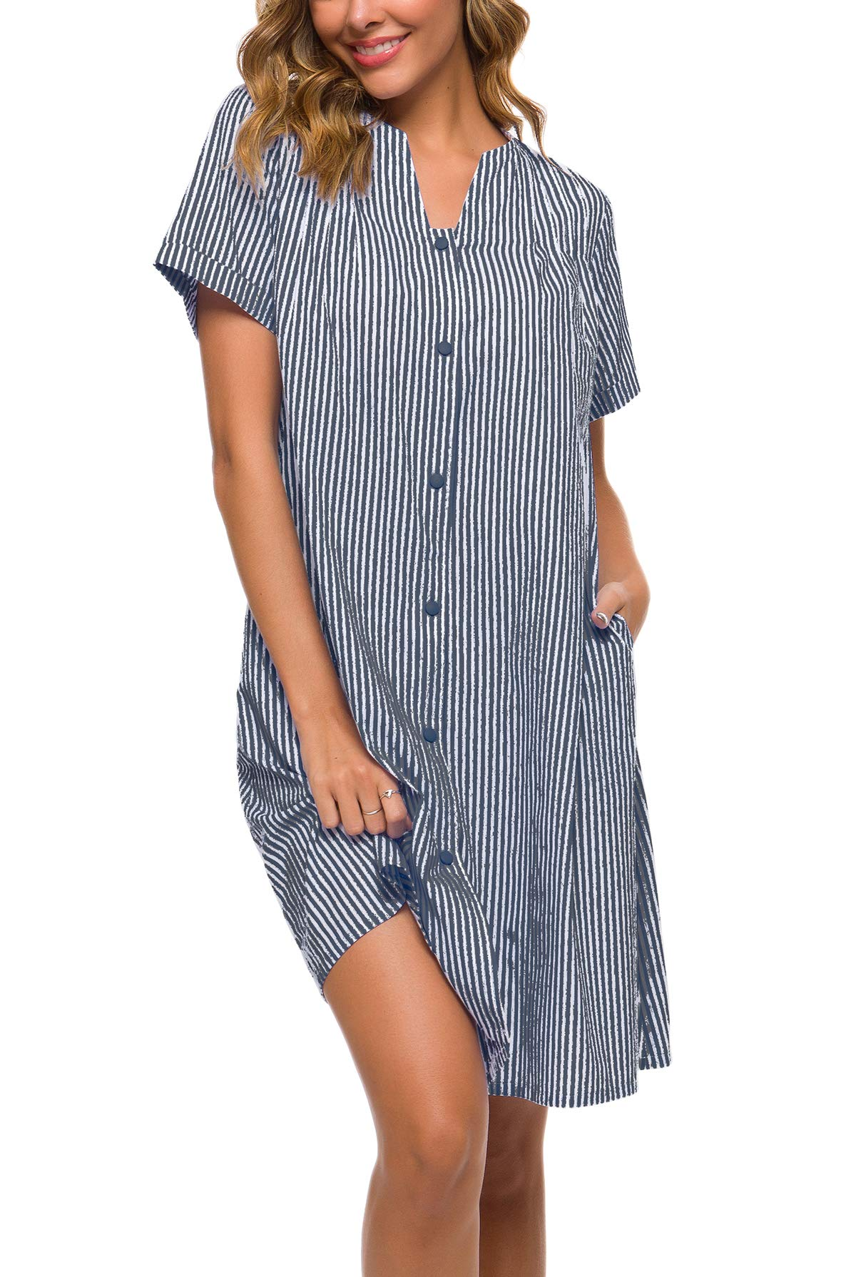 YOZLY House Coat Womens Cotton Stripe Nightgown Short Sleeves Button Down Duster Dress (Navy Blue, XL) by YOZLY