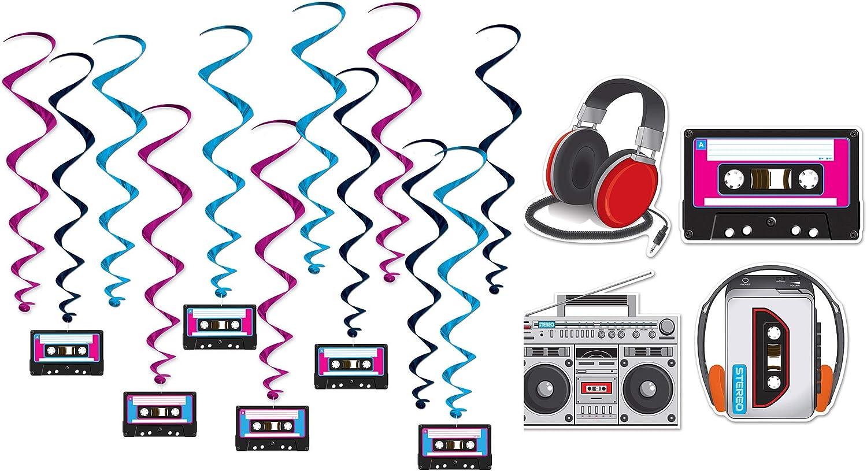 80s and 90s Theme Decor Bundle | 12 Hanging Cassette Tape Whirls and Walkman, Boombox, Headphone Cutouts