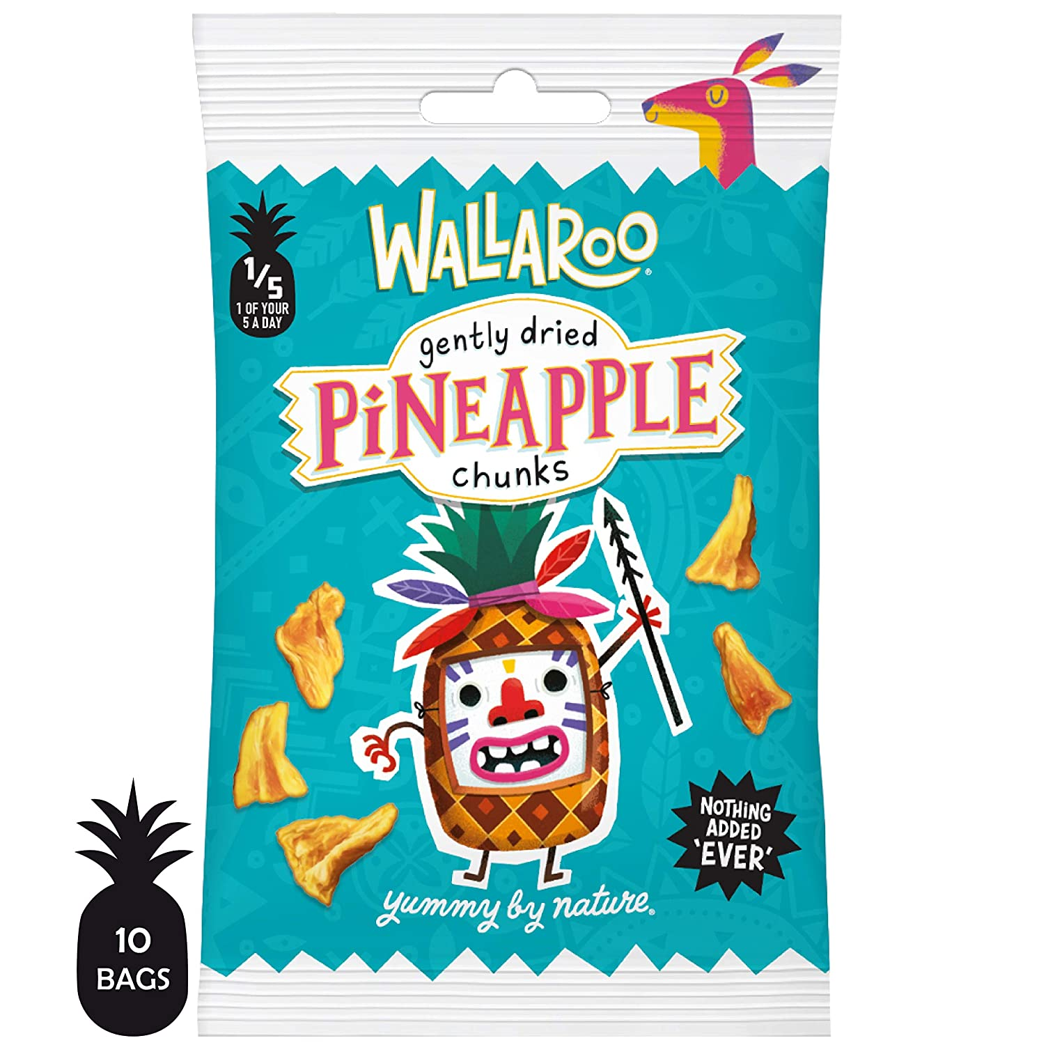 Wallaroo Gently Dried Pineapple Chunks, 100% Pineapple Fruit Snack, No Sugar or Preservatives, Home Compostable Portion Sized Packs, Box of 10 x 30g Wallaroo Foods Ltd UKPNEBX300