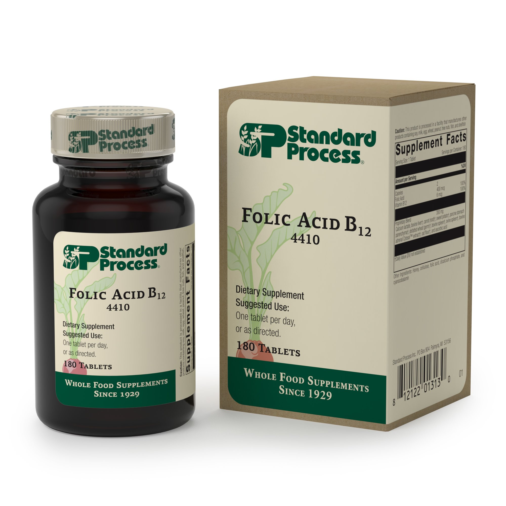 Standard Process - Folic Acid B12 - Folic Acid and Vitamin B12 Supplement, Supports Cellular Health, Circulatory and Nervous Systems, Healthy Homcysteine Levels - 180 Tablets