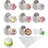 Russian Piping Tips Cake Decorating Supplies With Piping Bags And Icing Piping Nozzles 31-PCS Set (8 Russian Tips 20 Disposable Pastry Bags 1 Tri-Color Coupler 1 Leaf Tip 1 Coupler) Include Guide PDF