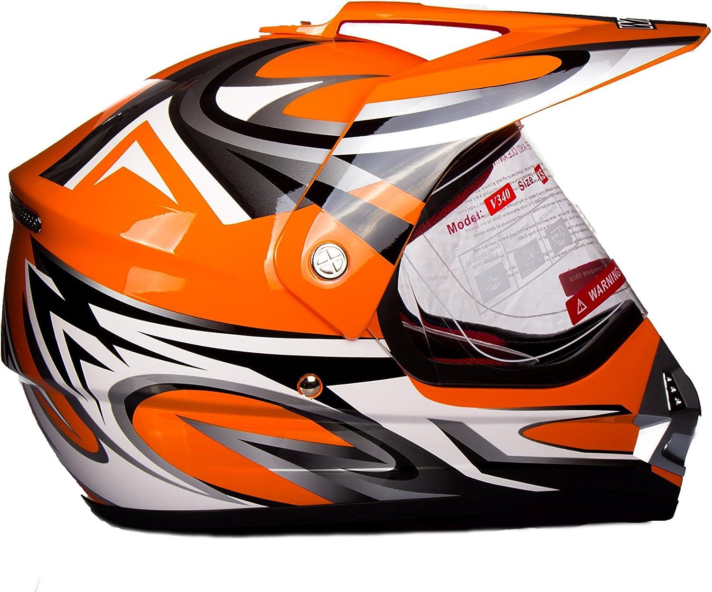 WinNet casco per moto da cross o motard con visiera arancio arancione ktm