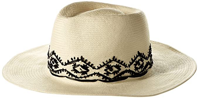 Amazon.com  Gottex Women s Tulum Panama Fedora with Hand Embroidered ... 2302f54d662