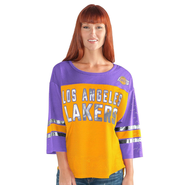 最初チームメッシュトップ B0743PYYLS Large|ゴールド/パープル|Los Angeles Lakers ゴールド/パープル Large