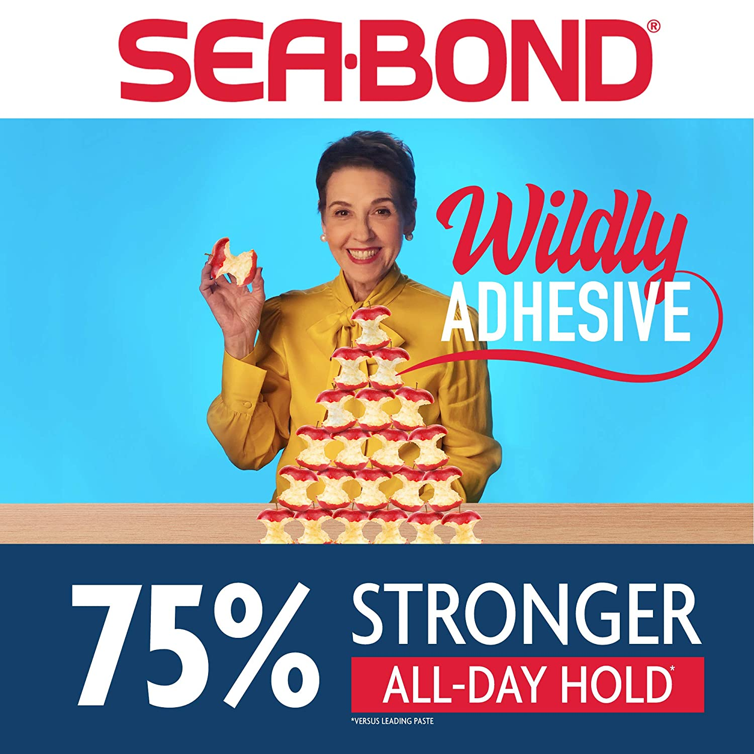 Sea Bond Secure Denture Adhesive Seals Lowers Original, Zinc Free, All Day Hold, Mess Free, 30 Count: Beauty