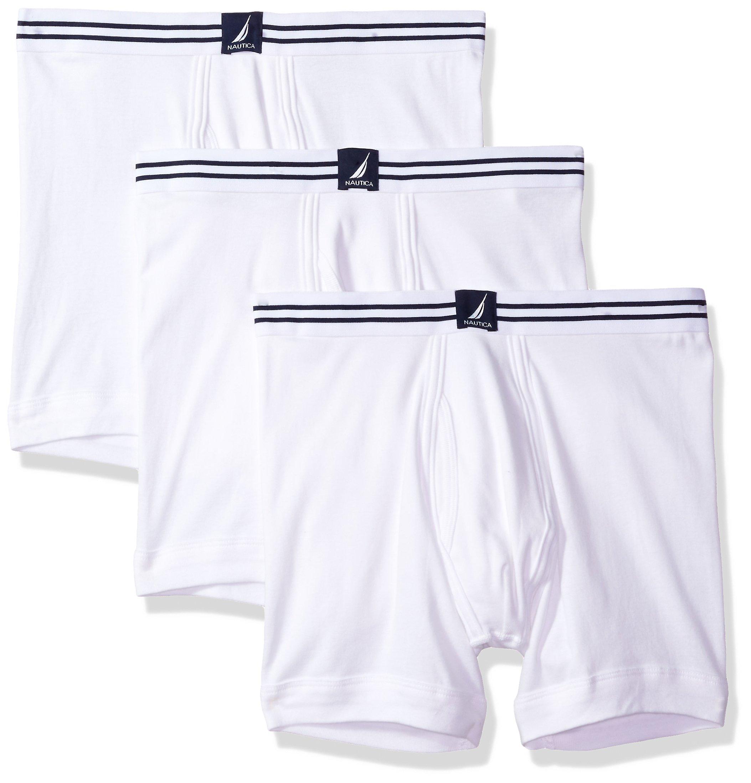 Nautica Men's Comfort Cotton Underwear Boxer Brief Multi Pack, White/White/White, XXL