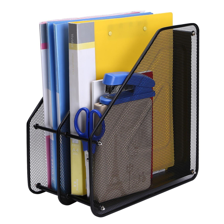 TOROTON File Rack Holder, 4 Compartments Mesh Metal Home Office Desk Book Sorter Storage Shelf, for Paper Magazine Documents and Books -Black