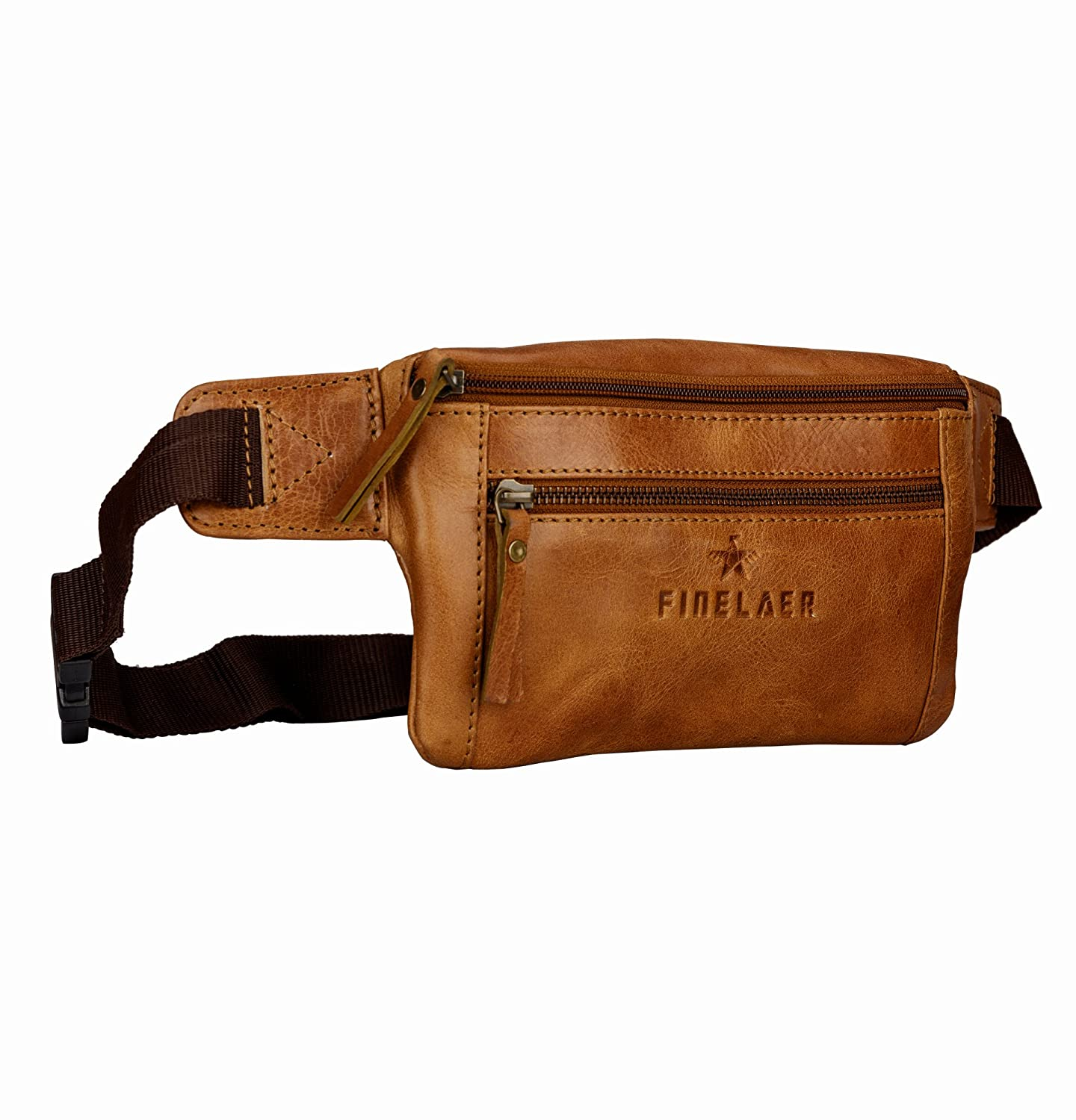 Finelaer Brown Leather Fanny Waist Travel Hiking Pack Bag