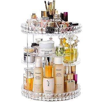 d2ed50ba938f Cq acrylic 360 Degree Rotating Makeup Organizer, Adjustable Acrylic  Carousel Cosmetic Display...