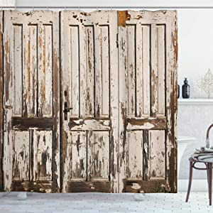 """Ambesonne Rustic Shower Curtain, Vintage House Entrance with Vertical Old Planks Distressed Rustic Hardwood Design, Cloth Fabric Bathroom Decor Set with Hooks, 70"""" Long, Brown White"""