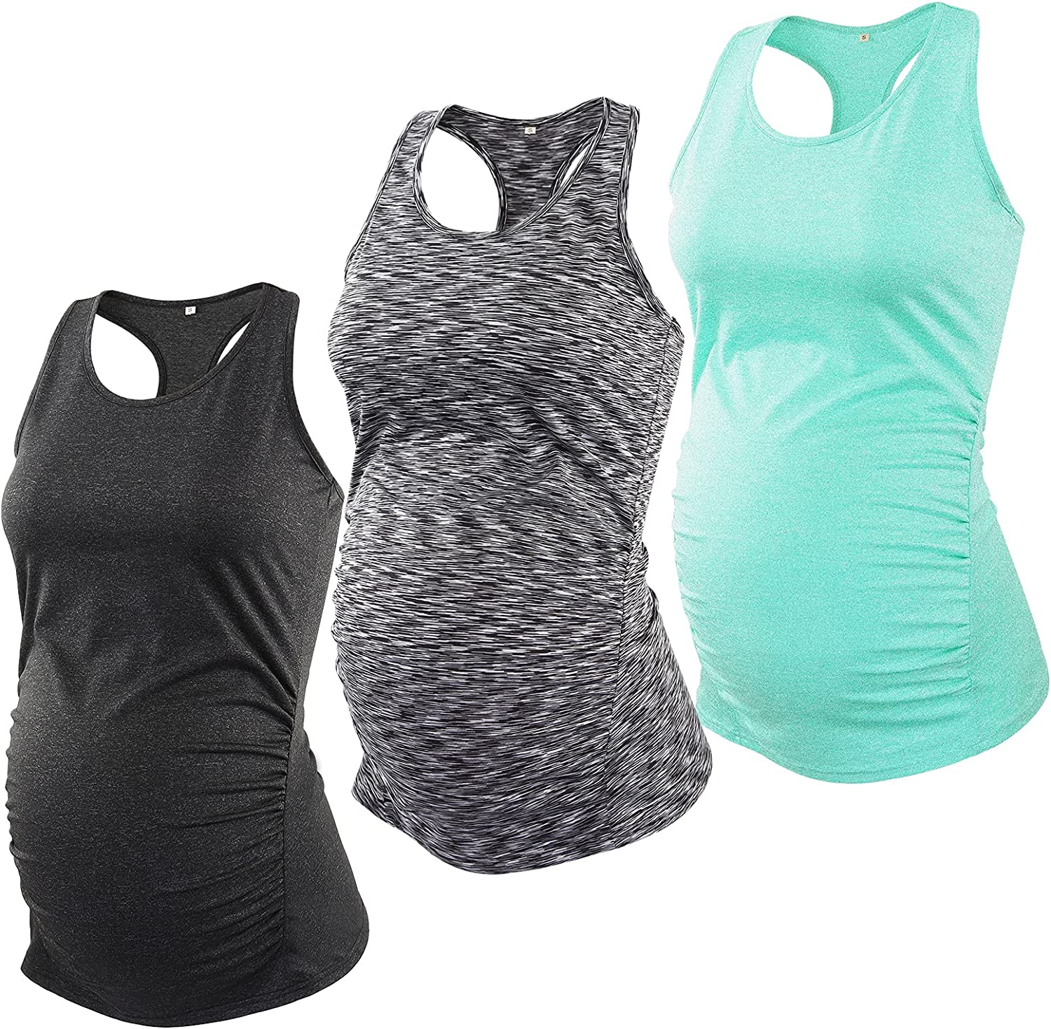 Glampunch 3PCS Maternity Yoga Tops Sleeveless Racerback Workout Athletic Maternity Tank Tops Pregnancy T-Shirts at  Women's Clothing store
