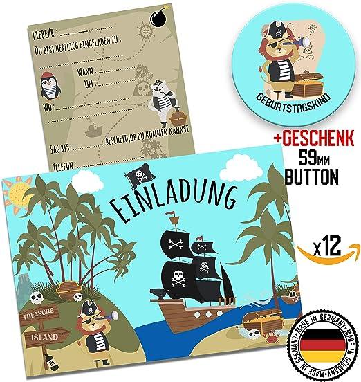 Hwart 12 Einladungskarten Piraten Einladung Zur Party Einladungen Zum Geburtstag Jungen Mädchen Schatzkarte Kindergeburtstag 59mm Button Geschenk