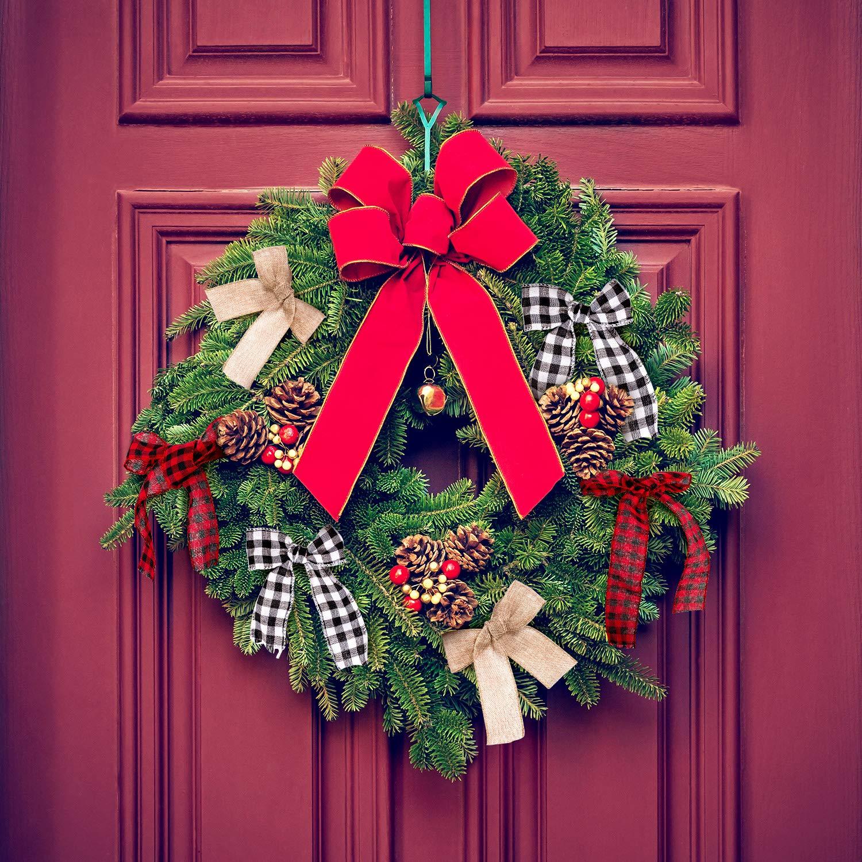 30 Yards x 2 Pulgadas Cinta de Negro Rojo a Cuadros Whaline 3 Rolls Cinta de Navidad con Borde de Alambre Cinta de Negro Blanco B/úfalo a Cuadros y Cinta de Arpillera para Envolver Regalos de Navidad