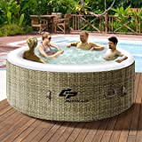 Goplus 4 Person Inflatable Hot Tub Outdoor Jets Portable Heated Bubble Massage Spa Set w/Filter & Repair Kit (Coffee)