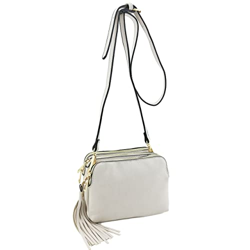 f58ca7f0e3e947 Triple Compartment Mini Crossbody Bag with Tassel Beige: Handbags ...