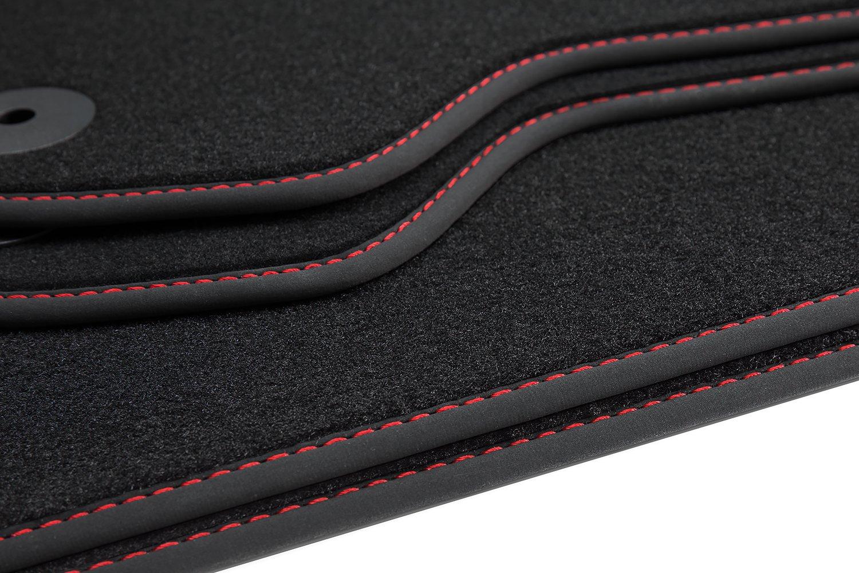 Tuning-Art 68s Exclusive Alfombrillas con Ribete Letras y Costuras Decorativas Costura de Color:Rojo