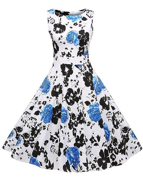 Acevog Mujer Vintage Vestido Años 50 Falda Impresión Floral Sin Mangas Vestidos de Fiesta. Pasa el ratón por ...