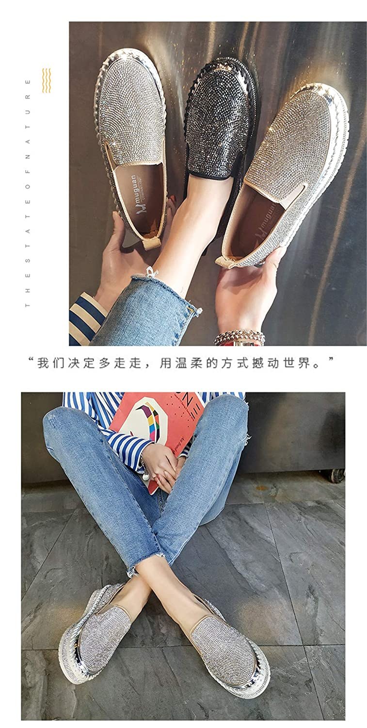 ciwoeiaa Black Silver Fashion Spring Summer Low top Women Sneakers Platform Slip-on Students Shoes