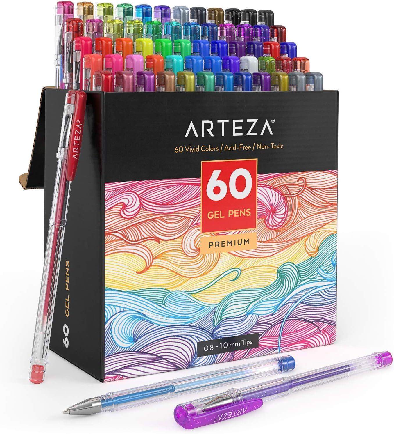 Arteza Pack de bolígrafos de gel | 60 colores individuales | Tinta de gel no tóxica y sin ácido | 7 Colores clásicos | 9 Pastel | 6 Rainbow | 6 Neón | 10 Metálicos | 12 Purpurina | 10 fluorescentes: Amazon.es: Oficina y papelería