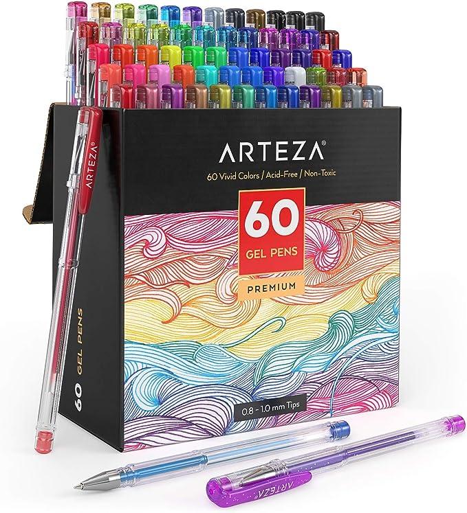 Triangular Grip Arteza Glitter Gel Pens 14-Individual-Colors 0.8-1.0 mm Set