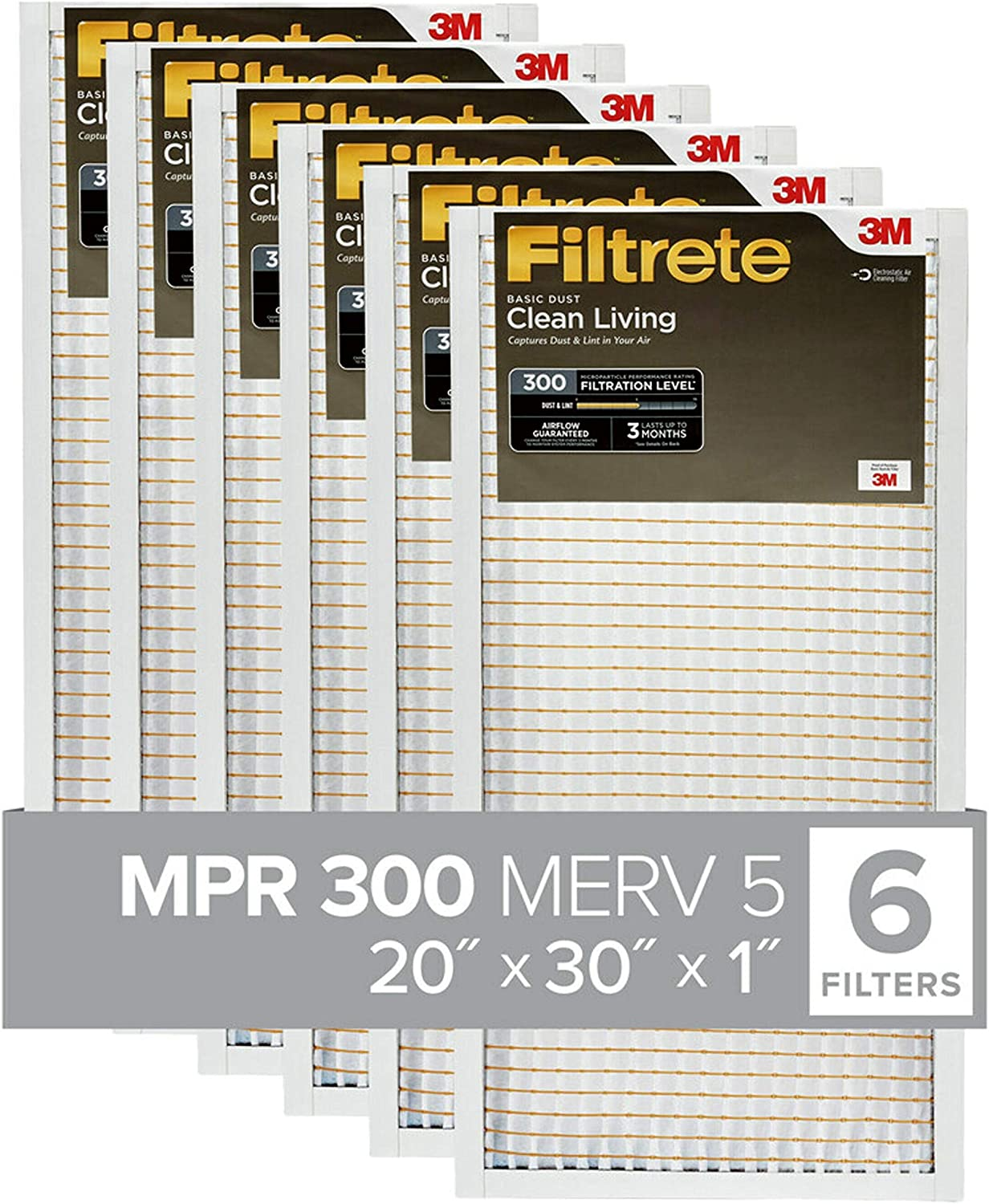 Filtrete 20x25x1 MPR 300 Clean Living Dust Reduction AC Furnace Air Filter 4Pack