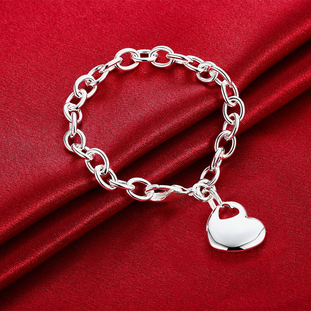 Fashion Love Double Heart Bangle Bracelet Dangle Unique Chain Girl Popular Jewelry Silver Plated