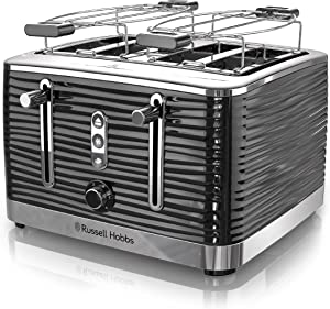 Russell Hobbs TR9450BR Coventry 4-Slice Toaster, Included Warming Rack, Black